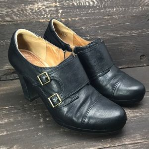 Clark's Black Leather Buckle Heels Size 11M